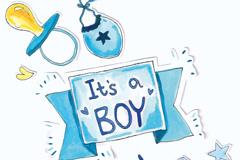 9款蓝色婴儿元素贴纸矢量图
