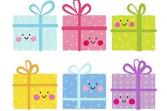 6款可爱表情礼盒矢量梦之城娱乐