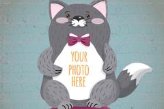 可爱灰色猫咪框架矢量梦之城娱乐