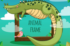 卡通野生鳄鱼框架矢量梦之城娱乐