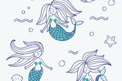 3款彩绘美人鱼矢量素材
