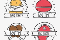 4款美味BBQ快餐标签矢量素材