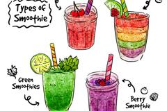 4款彩绘美味冰沙矢量素材
