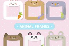 6款可爱动物框架矢量素材
