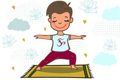 卡通练瑜伽的男子矢量优发娱乐