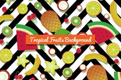 热带水果和曲线纹背景矢量素材