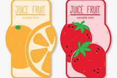2款彩色果汁橙子和草莓标签矢量