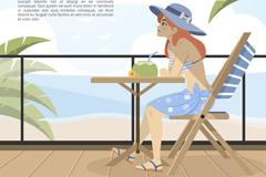 夏季海边度假的女孩矢量素材