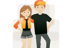 卡通踩滑板的情侣矢量素材