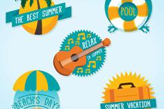 5款创意夏季假期标签矢量素材