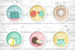 6款创意圆形夏季标签矢量优发娱乐