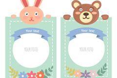 2款可爱兔子和熊动物照片边框矢