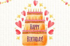 水彩绘三层生日蛋糕贺卡矢量素材