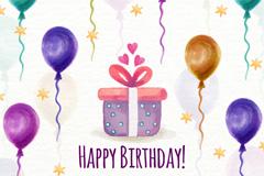 水彩绘生日礼盒和气球矢量素材
