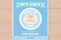 蓝色可爱男婴头像迎婴派对邀请卡矢量图