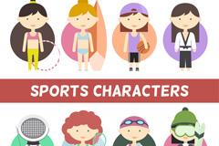 8款卡通运动女孩和运动装扮矢量素材