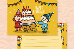 可爱儿童生日祝福卡和小狗矢量素材