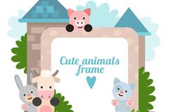 卡通城堡和小动物边框矢量图