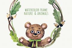 水彩绘熊和树枝边框矢量素材