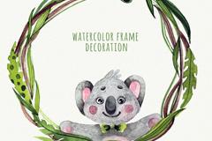 水彩绘考拉熊边框矢量素材