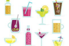 10款扁平化夏季饮品矢量图
