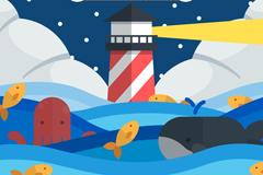 卡通灯塔和海洋动物矢量图