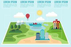 创意旅行地图信息图矢量梦之城娱乐