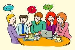 创意商务会议漫画人物矢量素材