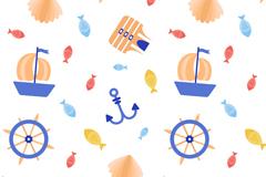 水彩绘航海元素无缝背景矢量图