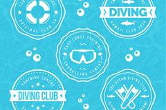 5款白色潜水俱乐部标志矢量素材