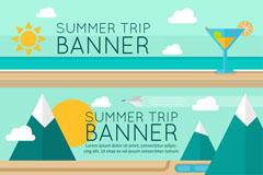3款创意夏季旅行banner矢量素材
