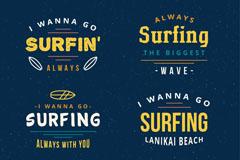 6款彩色冲浪标志矢量素材