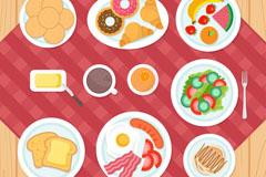 丰盛早餐食物俯视图矢量素材