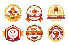 9款扁平化野餐烧烤标签矢量图