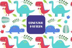 彩色可爱恐龙和树叶无缝背景矢量图