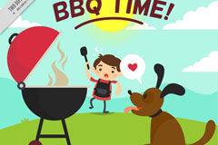 卡通烧烤男孩和宠物狗矢量图