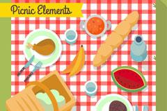美味野餐食物俯视图矢量素材