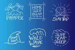 6款创意手绘冲浪徽章设计矢量素