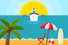 夏季游轮和沙滩风景矢量素材