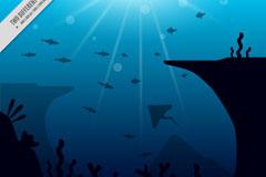 创意深海鱼类风景矢量素材