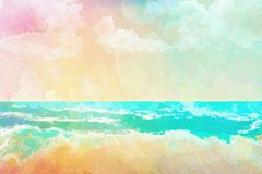 梦幻大海沙滩风景背景乐虎娱乐