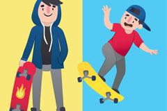 2个玩滑板的男子矢量素材