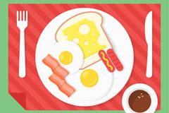 健康西式早餐俯视图矢量素材