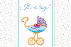 可爱婴儿车迎婴派对邀请卡矢量图