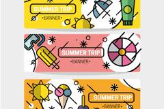 3款彩绘夏季旅行banner矢量素材