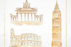 3款彩绘世界著名建筑矢量素材