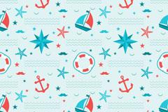 夏季航海元素无缝背景矢量图