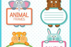 4款可爱动物手持框架矢量素材