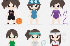 6款卡通大眼睛运动女孩矢量素材