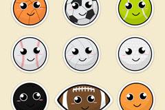 9款可爱卡通笑脸球类矢量素材